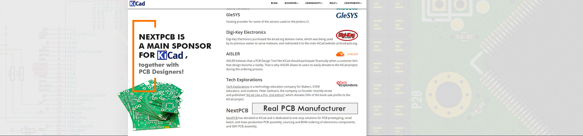 NextPCB is a main sponsor for Kicad